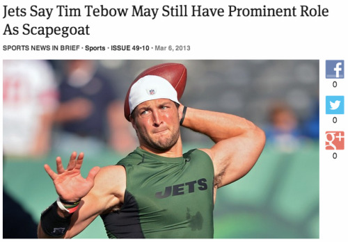Jets Say Tim Tebow May Still Have Prominent Role As Scapegoat: Full Report