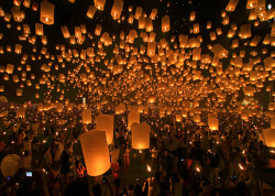 abrighterperspective:  Thousands of floating lanterns in Thailand.