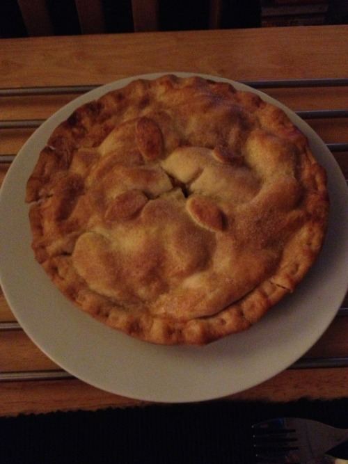 Apple and cinnamon short crust pie. Mmm. Yum.
