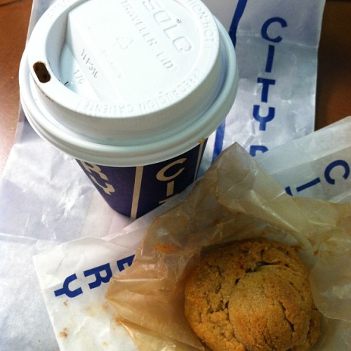 littlechampignon:  Spicy caramel hot chocolate and pb cookie from @citybakery
