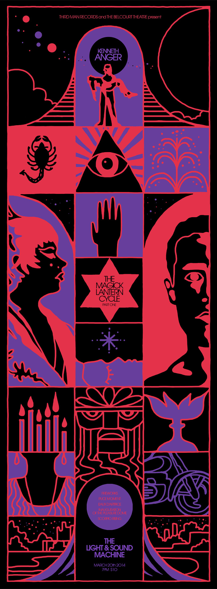 TONIGHT!THE MAGICK LANTERN CYCLE: PART 1 Kenneth Anger, USA, 1947-1964, 100min, 16mm Thursday, March 20th, 7pm. PURCHASE TICKETS HERE. Kenneth Anger: filmmaker, author, queer art pioneer, Crowleyan occultist, disputed child star - feared and respected in equal measure by swaggering rock icons and the decadent Hollywood elite. It is a name which evokes mystery and grandeur, matched by an unparalleled 75+ year career as one of America's dominant counter-cultural figures. For the months of March and April, we proudly present The Magick Lantern Cycle, the fabled 10-film backbone of Anger's life work. This month's screening features the films Fireworks, Puce Moment, Eaux D'Artifice, Inauguration of the Pleasure Dome, and Scorpio Rising, all presented on 16mm film prints courtesy of Canyon Cinema.