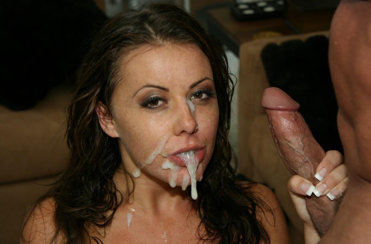 Petite young whore gets her cute face covered with cum 3