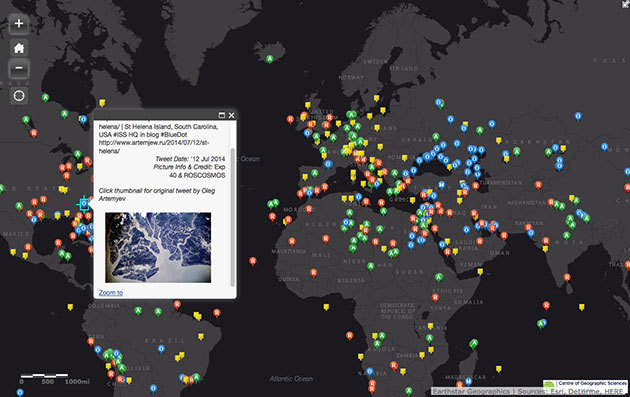 Browse astronaut photos taken from the ISS with this handy map