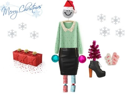 Crazy Christmas by lk97 featuring lace up boots ❤ liked on PolyvorePolka dot sweater / Leather skirt / Jeffrey Campbell lace up boots, $210 / Miso ring, $8.07 / Silver heart earrings / Christmas hat / ASDA Mini Fibre Optic Tree Pink / ASDA Pink Disco Ball Christmas Decoration / ASDA Teal Disco Ball Christmas Decoration / Make your own contemporary Christmas crackers, $6.44