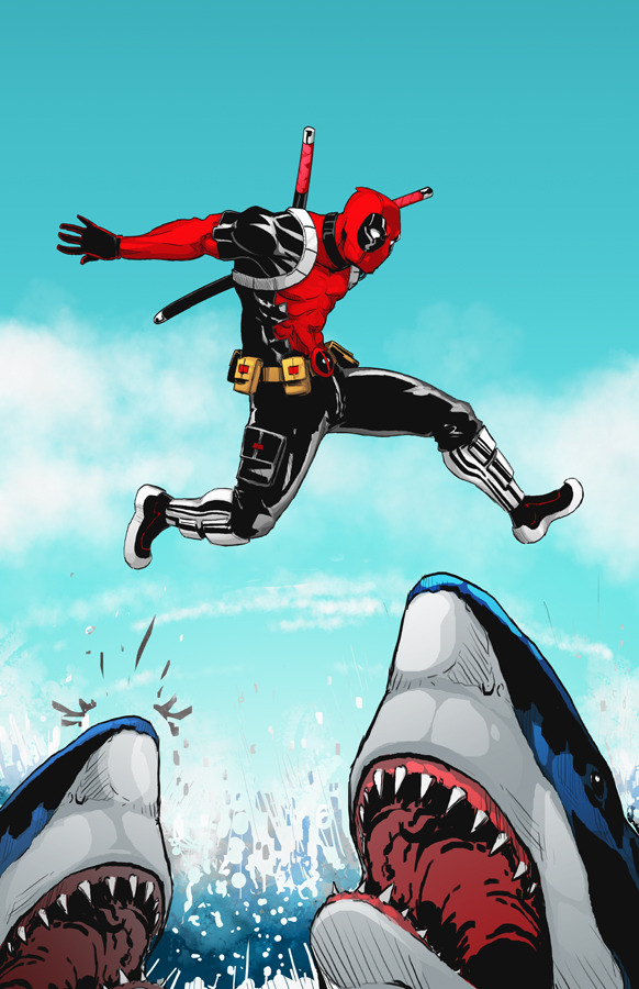 syngeist:  #Deadpool playing #Hopscotch with #Sharks. Deadpool is the property of #Marvel