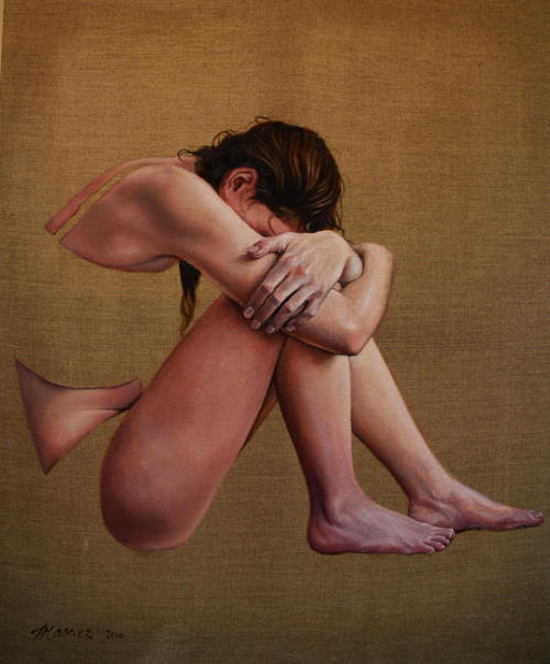 artchipel:  Helen Masacz - Girl with head bowed. Oil on linen [found at showslow & Octavia Gallery]