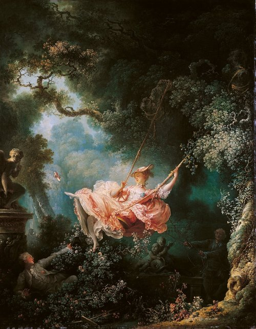 "ryandonato:  Jean-Honoré Fragonard, The Swing, 1766. Oil on canvas, 2' 8 5/8"" x 2' 2"".   Fragonard's Swing epitomizes  Rococo style. Pastel colors and soft light complement a scene in which a young lady flirtatiously kicks off her shoe at a statue of Cupid while her lover watches."