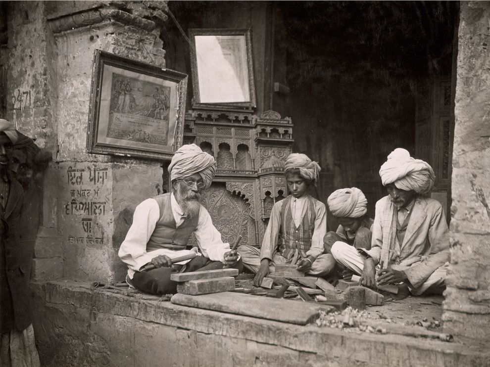 Woodcarvers in Amritsar, India, 1921