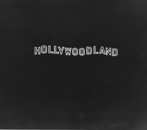 The Hollywoodland Sign at Night, 1925 Courtesy Los Angeles Public Library, Security Pacific Collection The sign hasn't been lit for more than one night in decades, so this is a really amazing photo!