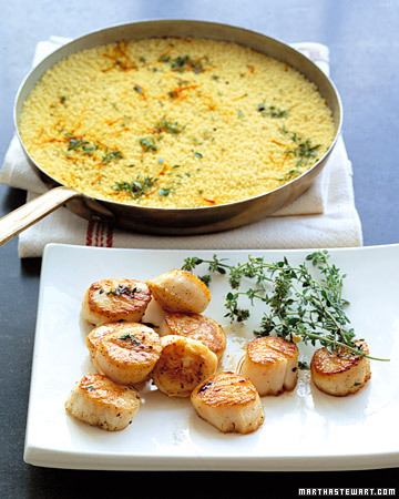 tumblrgym:  Learn how to make seared scallops with swiss chard and couscous