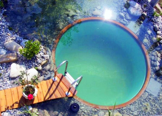 apecaviar:  Plant filtered, chlorine free natural swimming pond.