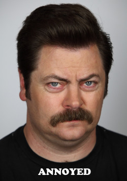 nbcparksandrec:  Today, Ron is feeling annoyed.  Turn that frown upside down, Ron Swanson! We're announcing our complete music lineup tonight.
