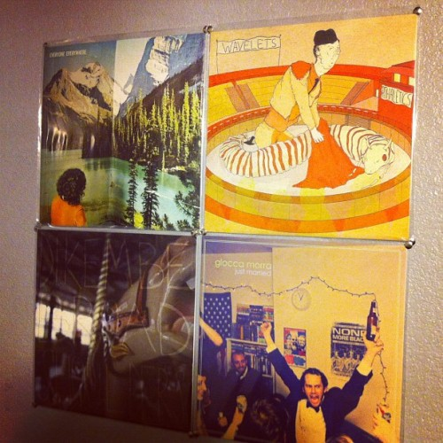 jasongbass:  12 inch vinyl records make for good posters. Album art for days. (Everyone Everywhere, Wavelets, Dikembe, Glocca Morra) #EveryoneEverywhere #Wavelets #Dikembe #GloccaMorra #vinyl #records