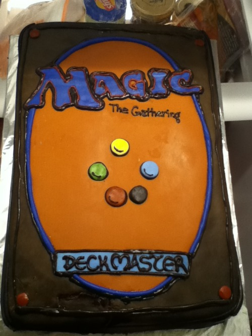dissociated-lifeform:  So I got my bf a Magic:The Gathering cake :) He loves it. Between the deck or an Elesh Norn. Cake lady said the deck would be easier.