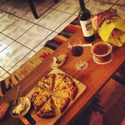 "reblogged from mscurleebikini:  ""Friday"" night veg out for one! Sometimes you just have to. #veganpizza #wine #thevoice #chickflicks (at tDR Headquarters)"