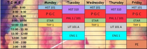 Hooray for a petiks sched! Hell-oh chill life.