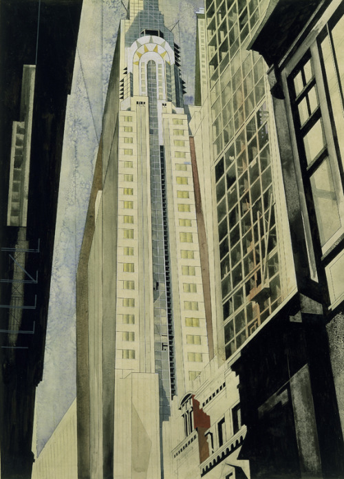 decoarchitecture:  Drawing with watercolor by Earl Horter. ufansius:  The Chrysler Building under Construction - Earl Horter
