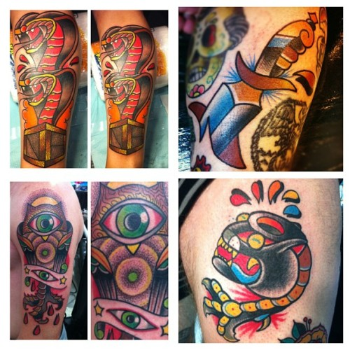 A few samples of #tattoos I've done in #Chicago, #Hawaii, #KansasCity and #Cleveland in 2012. DestroyTroy@hotmail.com for booking info here in #KC. Xoxo 🍷 (at Timeless Tattoo)