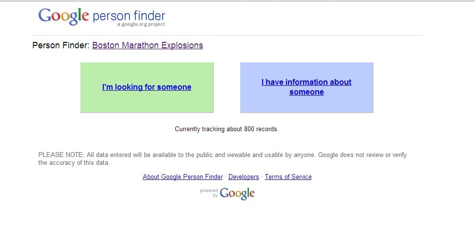"accesspopculture:  Please reblog: Google's ""Person Finder"" for the Boston explosion has been set up so families can search for their loved ones."
