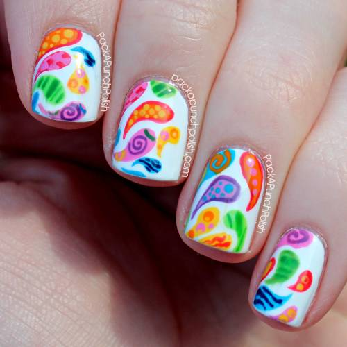 Colorful patterned paisley! I never want to take these off! I wish nail polish would last forever. Blog Post: http://www.packapunchpolish.com/2013/02/patterned-paisley-nail-art.html Tutorial: http://youtu.be/emqgNeSPDn0
