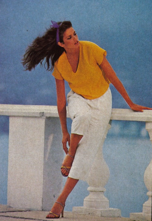 "80s-90s-supermodels:  ""Summer Solved!"", Vogue US, May 1979Photographer : Mike ReinhardtModel : Gia"