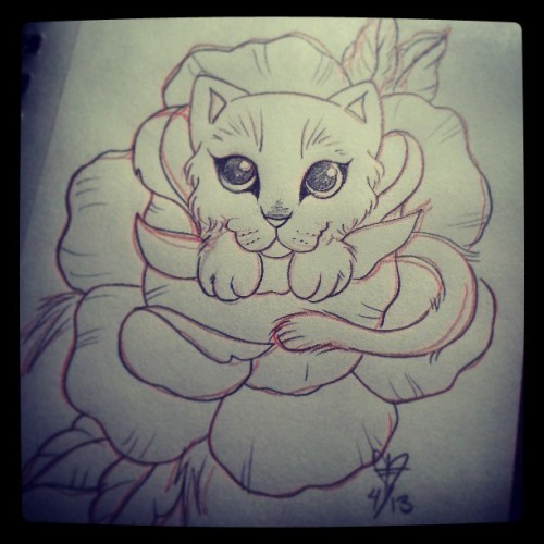 Cattoooo for @ktdotrose . #sketch #kitty #cat #kitten #cattoo #rose