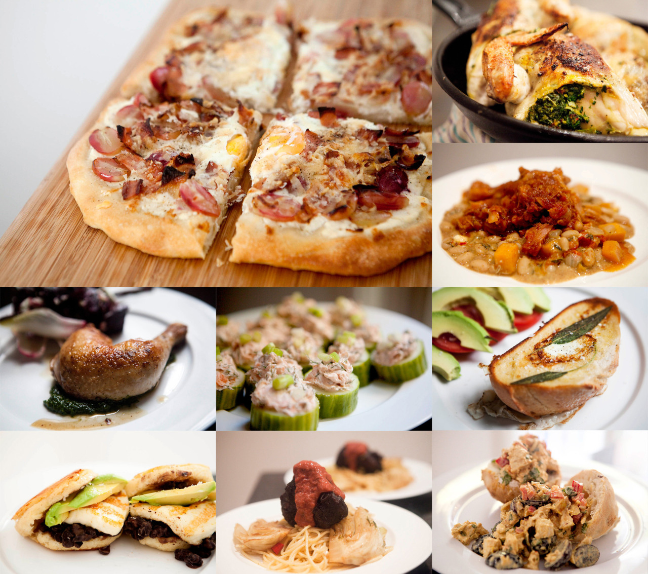 2012 Recipe Roundup That's it for me this year.  Here are my favorites from 2012: Best way to spend a RAINY DAY: Pulled Pork with Cannellini Beans, Butternut Squash and Tomato Best HANGOVER cure: Arepas with Black Beans, Haloumi and Avocado Best way to make your COWORKERS jealous: Curried Chicken Salad with Grapes, Almonds, Cilantro and Red Pepper Best INVENTION: Grape, Prosciutto, Parmesan and Egg Pizza Best CELEBRITY CHEF recipe: Neil Perry's Chicken Stuffed with Garlic and Coriander Best dinner for ONE: Pan Roasted Chicken with Pesto Best LEFTOVERS: Balsamic and Pomegranate Short Ribs with Bacon, Mushroom and Sun-Dried Tomato Trofil Best way to make your friends HATE you: Smoked Salmon Dip in Cucumber Cups Best BRUNCH at home: Sage Toad in the Hole with Tomato and Avocado Best dish made with a WEIRD cut of meat: Master Stock Beef Cheeks with Spicy Rhubarb Sauce, Orange Salt, and Braised Fennel Best SIDE dish: Saffron Sweet Potato Fries with Cilantro Lime Dipping Sauce What have I missed?