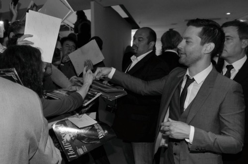 hauteinnocence:  Tobey McGuire greeting fans at the 2013 Cannes Film Festival