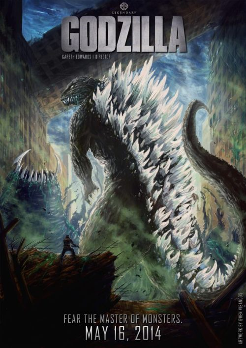 From artist Gwen Vibancos comes this amazing poster for the new Godzilla film directed by Gareth Edwards.  I've been saying this for a few years now: MORE ILLUSTRATED MOVIE POSTERS, PLEASE. Seriously, this is the coolest. We need more of this.