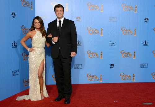 Lea Michele with Nathan Fillion at the 2013 Golden Globe Awards
