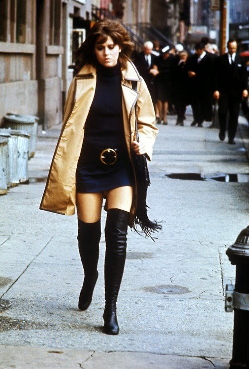 Jane Fonda classic woman 1970s fashion black mid calf boots Klute sunday in new york barberella barefoot in the park cat ballou new york city the 1970s vintage mini dress timeless cool timeless style women& 039;s vintage fashion street fashion vintage inspiration gritty urban belted dress sexiness beatiful
