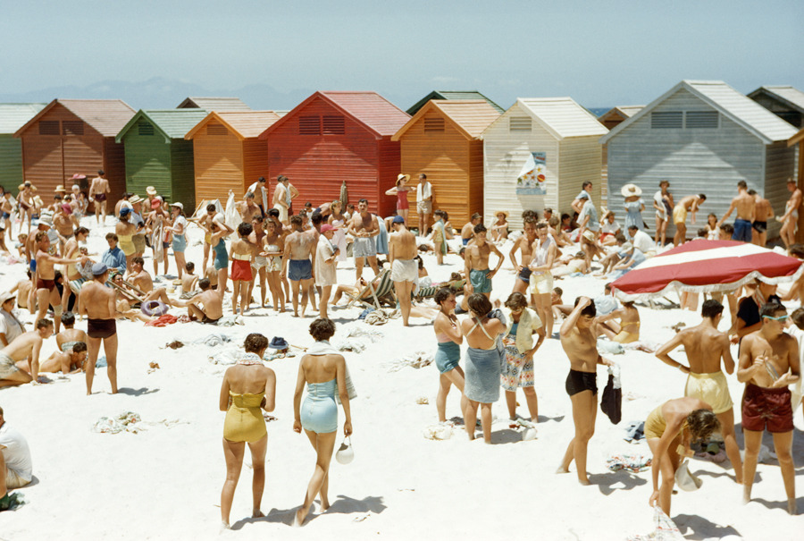 South Africans relax on a sunny, cabana-lined beach in Cape Town, South Africa, August 1953.Photograph by Dr. Gilbert H. Grosvenor, National Geographic