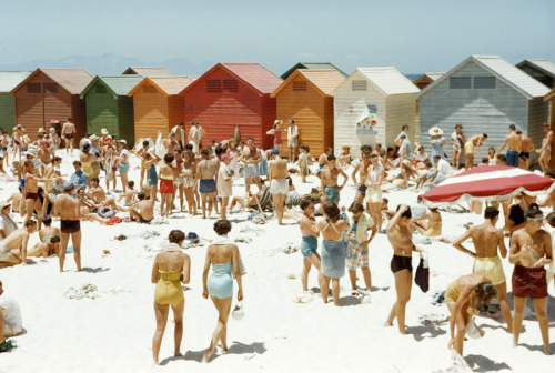 natgeofound:  South Africans relax on a sunny, cabana-lined beach in Cape Town, South Africa, August 1953. Photograph by Dr. Gilbert H. Grosvenor, National Geographic