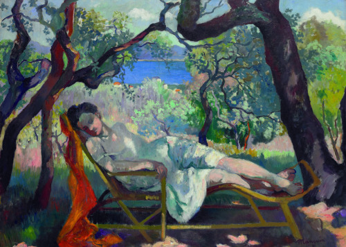 Henri-Charles Manguin - Siesta in the rocking chair (1905). Oil on canvas, 89 cm x 117 cm. Private Collection