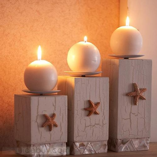 Mediterranean Wooden Candle Holders