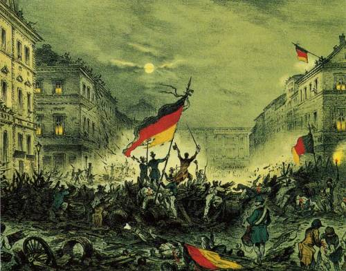 "schwiizophiiliia:  historyofeurope:  Cheering the Revolutions of 1848 in Berlin.   Failed revolutions in the end since this ended up with a ""revolution from above."" It's amusing how revolutions from above repeat themselves in German history until finally in the ends of WWI when a proper revolution from below finally emerged, albeit way too late in the game."