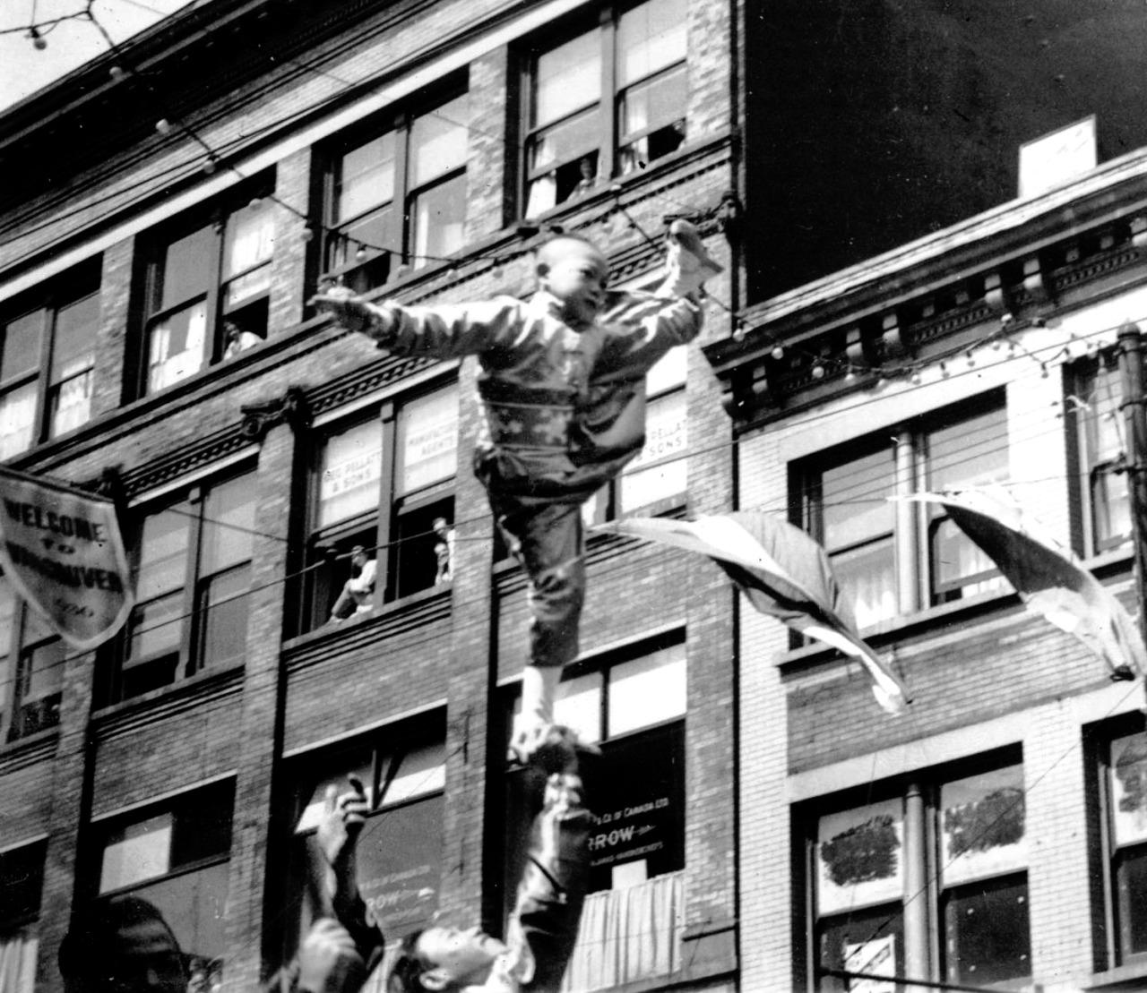 Chinatown acrobat, n.d. Source: Photo by Karl Haspel (cropped), City of Vancouver Archives #300-104