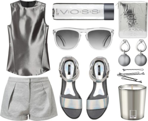 poly-blk:  silver/sun by mountainthyme featuring flat ankle strap sandals ❤ liked on PolyvoreCalvin Klein Collection satin top / Stylein cotton shorts, $140 / Senso flat ankle strap sandals, $165 / Georg Jensen freshwater pearl jewelry / McQ by Alexander McQueen , $195 / Max Studio clear sunglasses / Pantone Silver Candle, $19 / Voss Artesian Still Water, $1.79