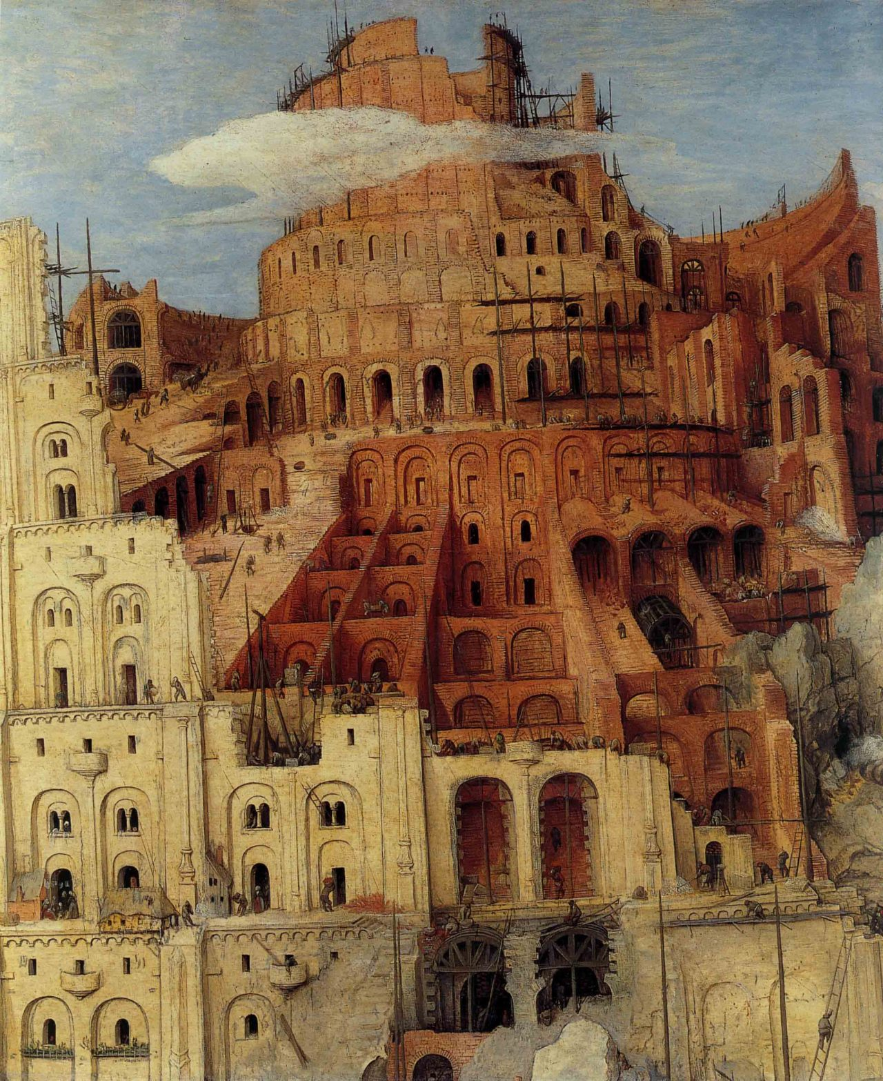 nataliakoptseva:  1563 Bruegel l'Ancien La Tour de Babel, détail Le haut de la Tour, The Tower of Babel, Detail top of the Tower