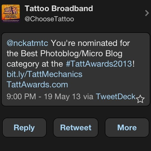 We're nominated for the Best Photoblog/Micro Blog category at the #TattAwards2013!! #dominate check out TattAwards.com