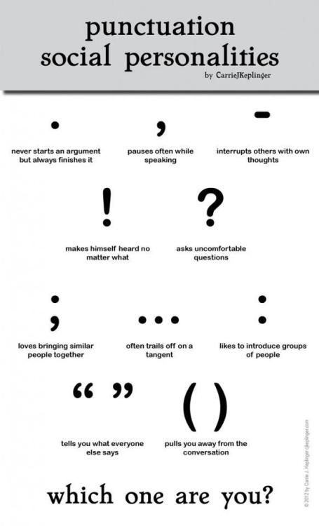 poetdreamer:  yeahwriters:  doubledaybooks:  Loving this punctuation personality chart.  Can someone please make an animated video that involves a bunch of puncuation going to a party? And I want to be the voice of the semicolon.  Which am I? I'll give you three guesses….   Wow, this is surprisingly accurate!