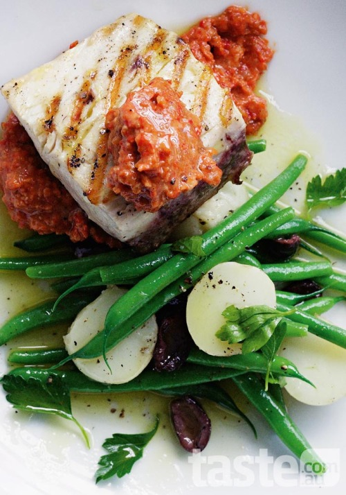 Flaky kingfish served with romesco-style sauce and seasonal delicacies is something truly special. (Recipe by Sophia Young; Photography by Ben Dearnley)