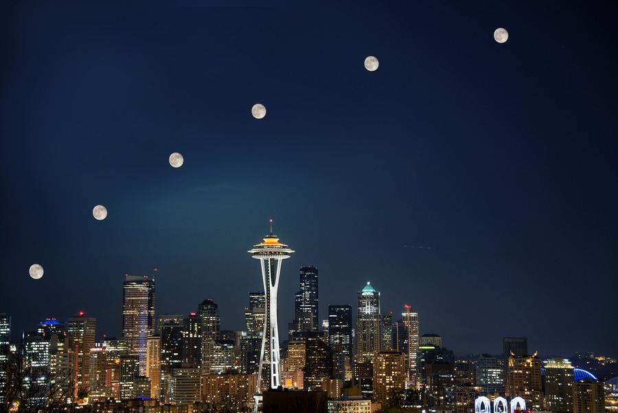Seattle Super Moon By Dave Morrow