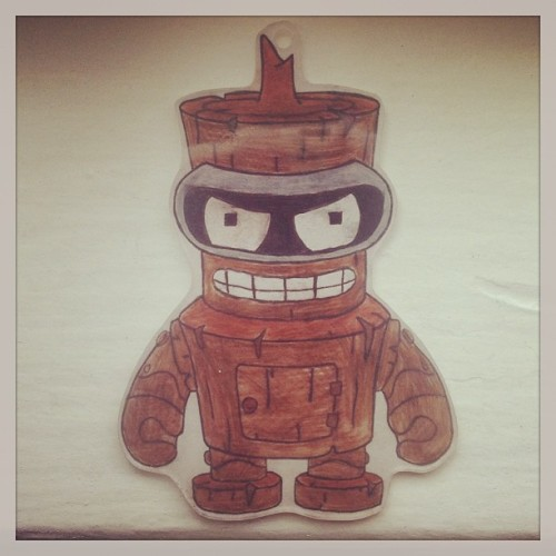 delilahsbike:  Made this wooden bender shrinky dink! #futurama #shrinkydinks  Bite my tiny, shrunken ass!