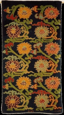 wasbella102:  Tibetan Peony and Lotus, Source: an early 20th century Tibetan village carpet design