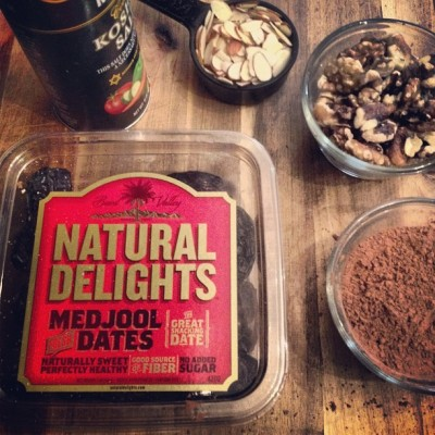 Whipping up some #raw #vegan brownies… Natural delights, how apropos :) Also, how cute is that #typography?