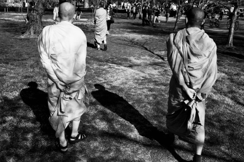 buddhist monks at the kite festival