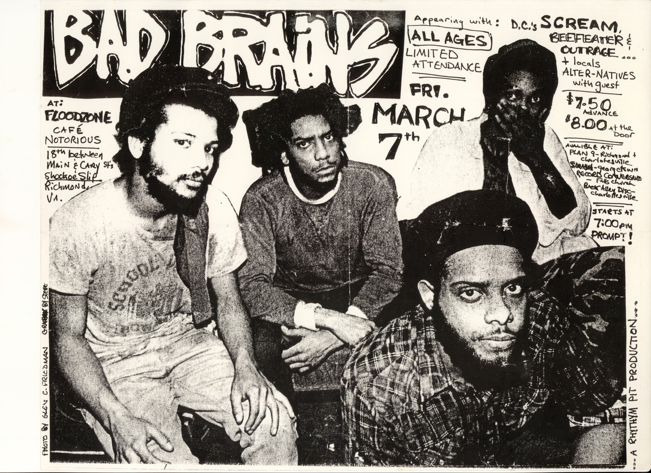 oldpunkflyers:  Bad Brains, Scream, Beefeater, Outrage and Alternatives @ The Flood Zone. 1986