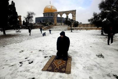 ifahdah:  Muslim prayer in the snow Jerusalem in 2013.