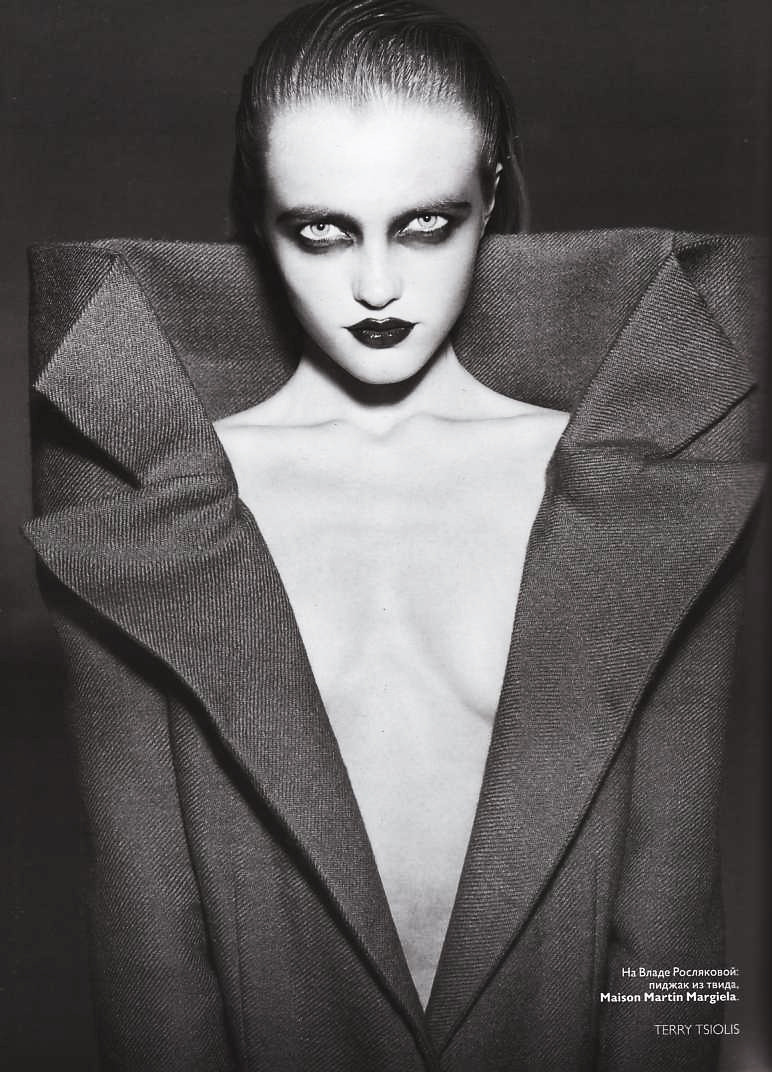 edge-to-edge:  Vlada Roslyakova dressed in Maison Martin Margiela in Vogue Russia, September 2008/ Photographed by Terry Tsiolis
